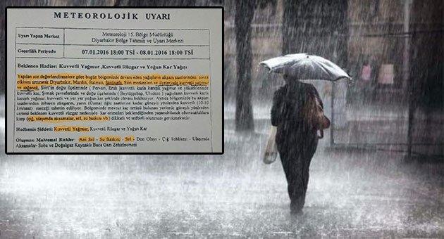Urfa'ya kuvvetli yağış uyarısı