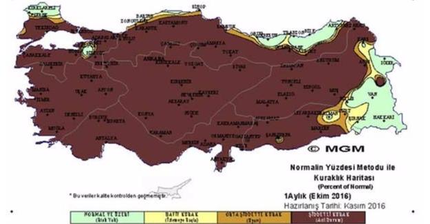 """Türkiye'de Ekim Ayı """"Şiddetli Kurak"""" Geçti"""