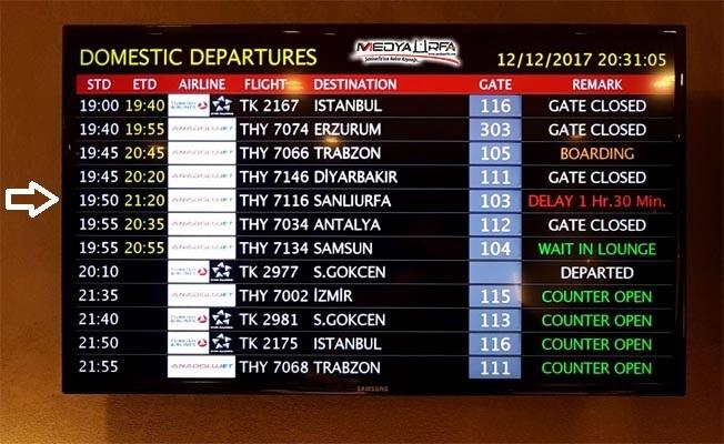Ankara-Şanlıurfa uçağı rötar yaptı !