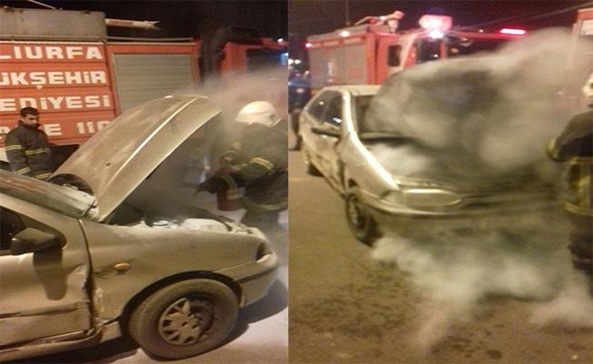 Otomobil yangınına kimyevi toz ile müdahale