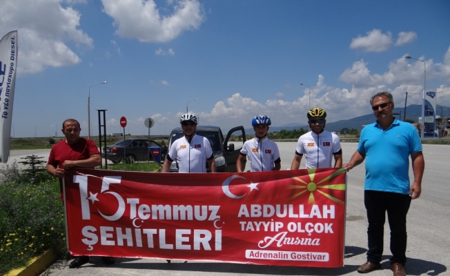 15 Temmuz şehitleri anısına pedal çeviren bisikletçiler Gümülcine'de