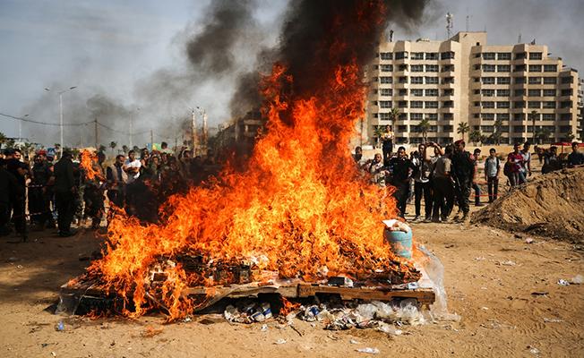 Gazze'de Ele Geçirilen Uyuşturucu Madde İmha Edildi