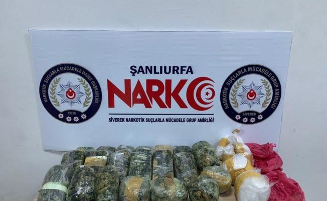 Siverek'te yol kontrolünde uyuşturucu yakalandı