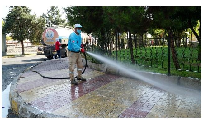 Haliliye'de sokak sokak dezenfekte çalışması