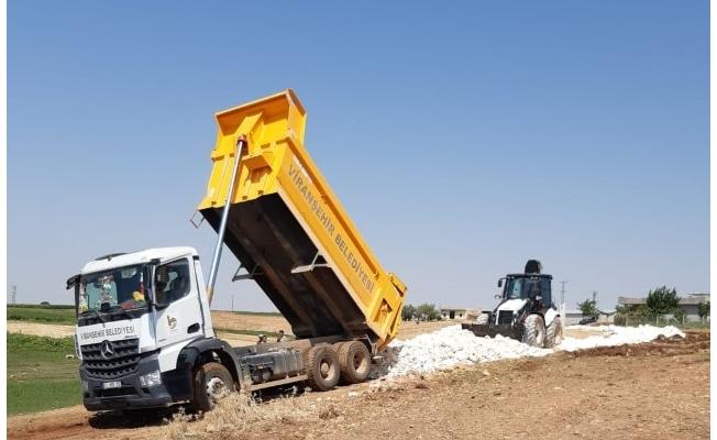 Viranşehir kırsalında stabilize yol çalışması