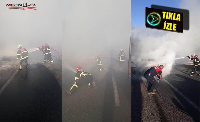 Şanlıurfa'da seyir halindeki otomobilde çıkan yangın söndürüldü