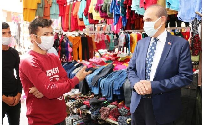 Yalçınkaya pazar esnafını ziyaret etti