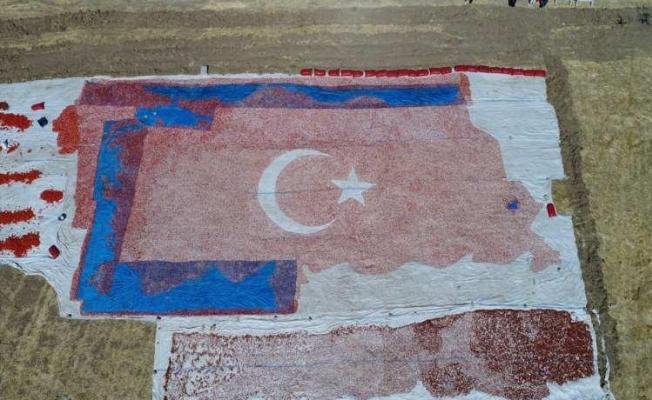 Kurutmalık domateslerle ay yıldızlı Türkiye haritası yaptılar