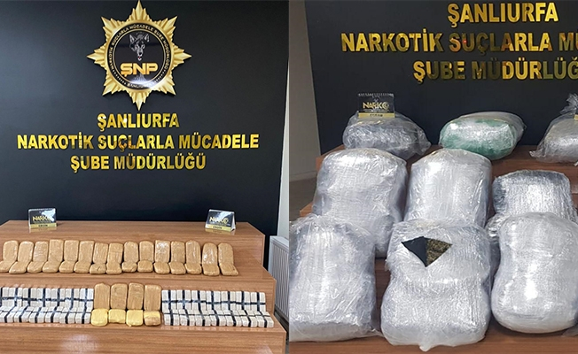 Şanlıurfa'da 3 otomobilde 149 kilogram uyuşturucu ele geçirildi