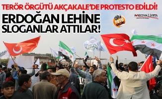 Akçakale'de Suriyelilerden YPG ve PKK'ya protesto