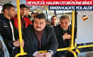 Beyazgül halkın otobüsüne bindi!