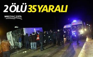 Amasya'da otobüs devrildi: 2 ölü, 35 yaralı