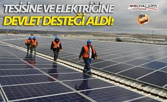 Tesisine ve elektriğine devlet desteği aldı