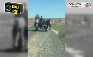 Çocukların traktörde tehlikeli yolculuğu