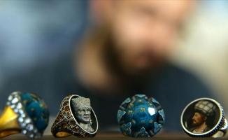Tarihi şahsiyetleri değerli taşlara işliyor