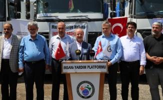 Şanlıurfa'dan İdlib'e 7 tır yardım malzemesi