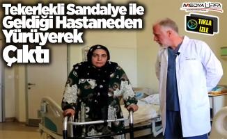 Sandalye ile geldiği hastaneden yürüyerek çıktı