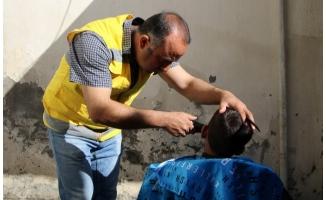 Haliliye'de yetim çocuklara traş hizmeti!