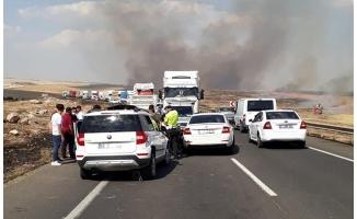 Anız yangını zincirleme kazaya neden oldu: 3 yaralı