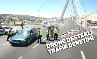 Siverek'te drone destekli trafik denetimi