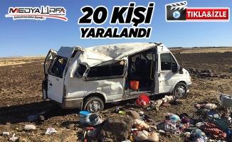 Tarım işçilerini taşıyan minibüs devrildi: 20 yaralı 1 öü