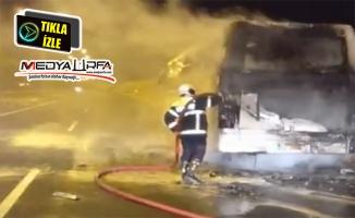 Şanlıurfa'da işçileri taşıyan otobüste yangın çıktı
